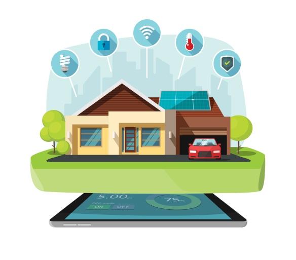 Smart home modern future house vector illustration, solar energy technology